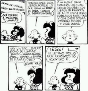 The original strip of Mafalda, Libertad and Jean-Paul Sartre